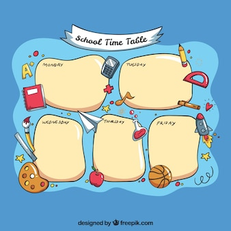 Funny school timetable template with hand drawn elements