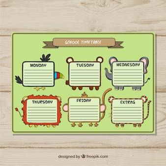 Funny school timetable template with hand drawn style