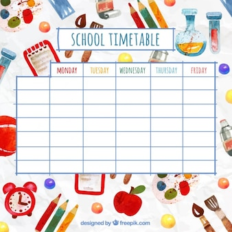 Funny school timetable with watercolor elements