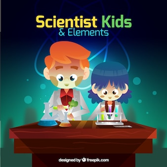 Funny scientist kids with elements
