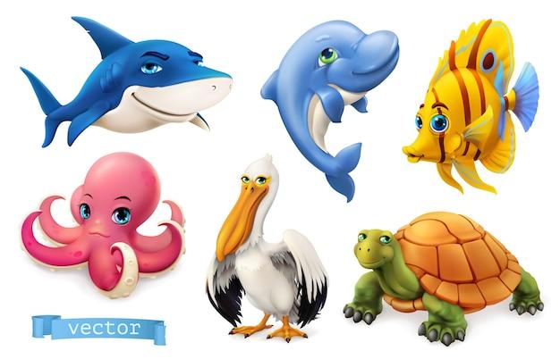 Забавные морские животные и рыбы.