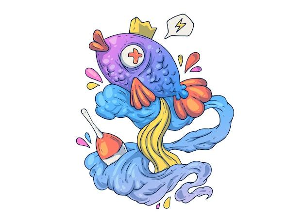 재미있는 바다 물고기. 창의적인 만화 그림입니다.