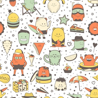 Funny seamless pattern with cartoon monsters, personage. colorful hand drawn characters, unusual creatures