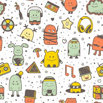 Funny seamless pattern with cartoon monsters, personage. colorful hand drawn characters, unusual creatures.