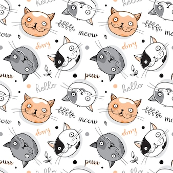 Funny seamless pattern with cat faces