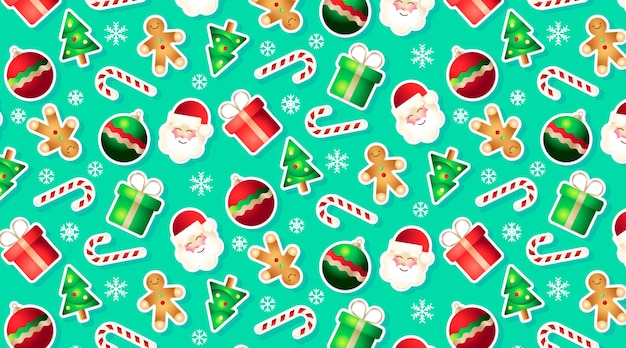 Funny seamless pattern with christmas elements