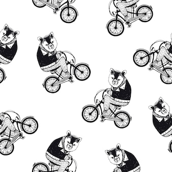 Funny seamless pattern with cute cartoon brown bear dressed in dark shirt riding bike on white background. hand drawn illustration in retro style for wallpaper, fabric print, wrapping paper.