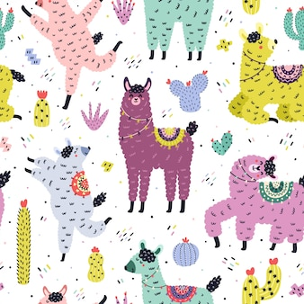 Funny seamless pattern with cute llamas and cactuses. creative background with alpaca and cacti in scandinavian style. hand drawn elements for kids design. trendy  illustration
