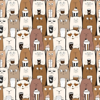 Funny seamless pattern with doodle cute cats