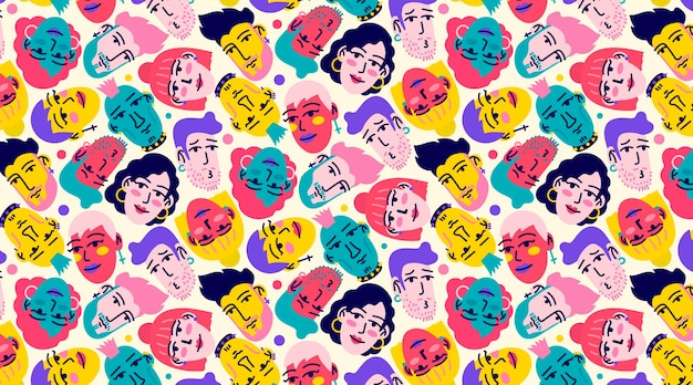 Funny seamless pattern with hand drawn faces of young people