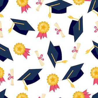 Забавный бесшовный образец со школьной медалью, дипломом и академической квадратной кепкой. снова в школу.