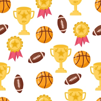 Funny seamless pattern with school basketball, cup and ball for rugby. back to school background.