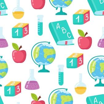 Забавный бесшовный образец со школьным глобусом, яблоком, книгой и лампочкой. снова в школу.