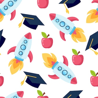 Funny seamless pattern with school supplies and creative elements. back to school background.