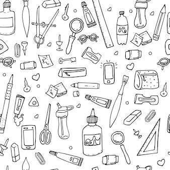 Funny seamless pattern with school supplies