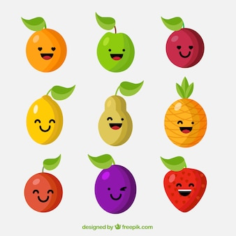 Funny selection of fruit characters
