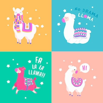 Funny set of lama quote. cartoon lama character vector illustration.