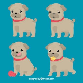 Забавный набор щенков мопса