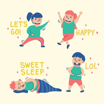 Funny set of stickers with people and text
