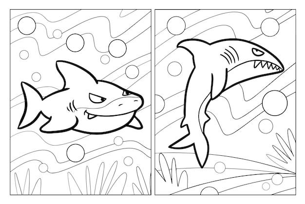 재미있는 상어 만화 색칠 공부 페이지