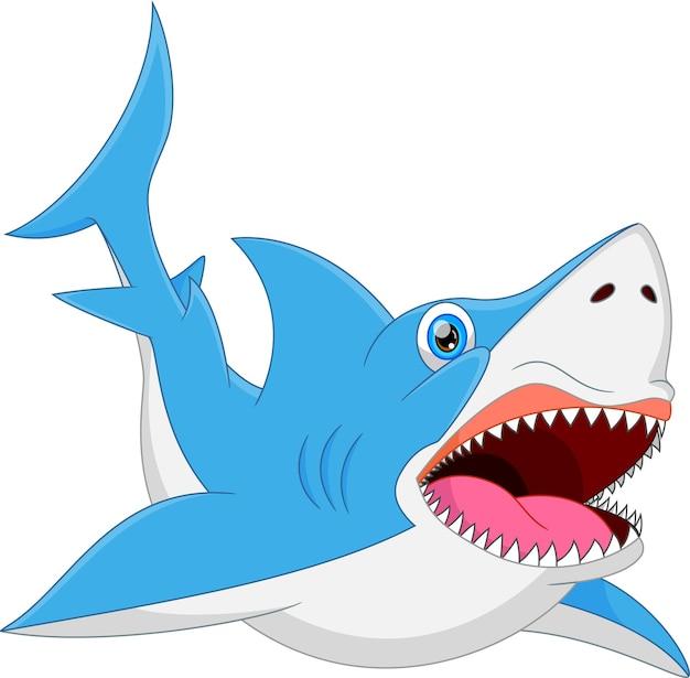 Забавная поза акулы с улыбкой