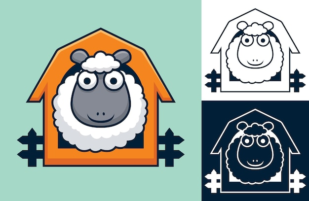 Funny sheep on cage.   cartoon illustration in flat icon style