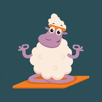Funny sheep doing yoga exercise. cute vector cartoon lamb character in lotus pose isolated
