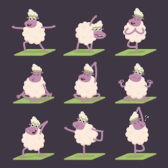 ヨガのポーズの練習をしている面白い羊。背景に分離されたかわいい漫画の子羊のキャラクターセット。
