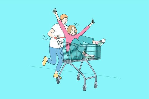 面白い買い物、楽しんで、一体感のコンセプト。