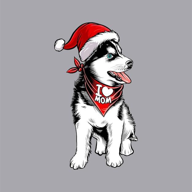 サンタクロースのクリスマスの衣装を着て面白いシベリアンハスキー犬