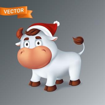 Забавное серебряное животное бык в красной шляпе санты. символ года в китайском зодиакальном календаре. 3d мультфильм белого улыбающегося быка, изолированные на сером фоне