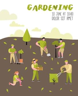 Забавные простые персонажи с растениями и деревьями
