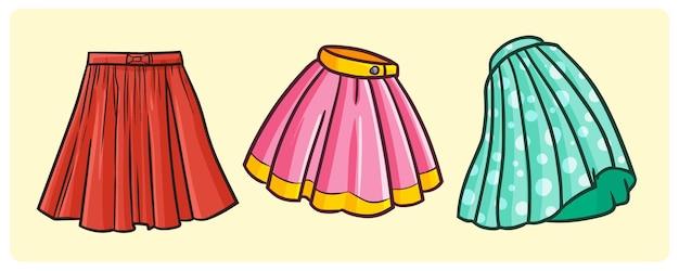 만화 낙서 스타일의 재미있는 간단한 치마 컬렉션