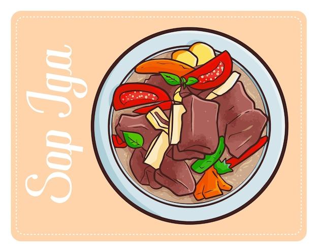 Забавный простой вкусный sop iga традиционный индонезийский суп из ребрышек.
