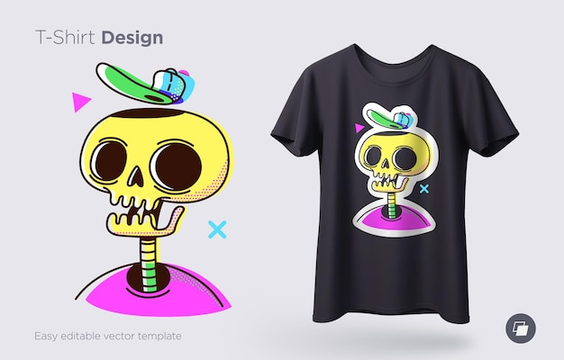 Забавная иллюстрация скелета. печать на футболках, толстовках и сувенирах. вектор