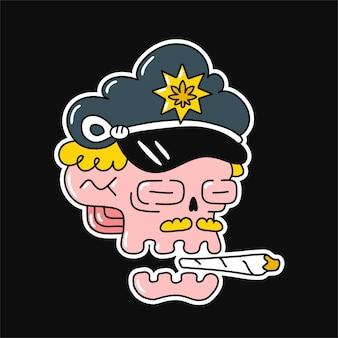 경찰 모자 모자와 대마초 관절에 재미있는 두개골. 벡터 귀여운 만화 그림 로고입니다. 위드 흡연, 스토너, 마리화나, 대마초, 스티커, 티셔츠, 포스터, 패치 개념을 위한 경찰 해골 인쇄