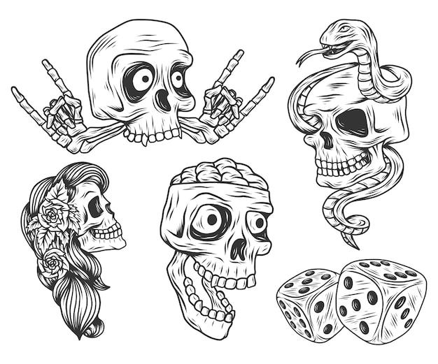 面白い頭蓋骨とサイコロ