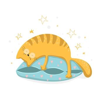 Забавный спящий кот на синей подушке, векторные иллюстрации eps 10.