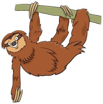 枝に面白いナマケモノの漫画の動物キャラクター