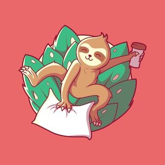 Забавный ленивец персонаж векторные иллюстрации мотивация вдохновения смешно расслабиться концепция дизайна