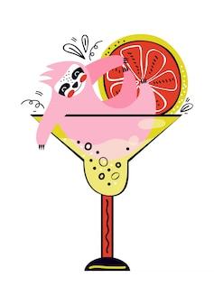 面白いナマケモノは、アルコール飲料とグラスにあります。夏のパーティーと休暇。かわいい漫画のキャラクターは楽しい時間を過ごします。フルーツサマーカクテル。スカンジナビアスタイルの手描きイラスト。