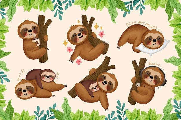 Illustrazione divertente delle reazioni del bradipo