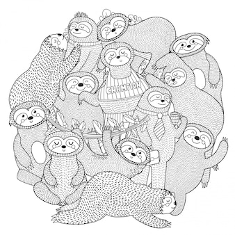Funny sloths circle shape pattern for coloring book