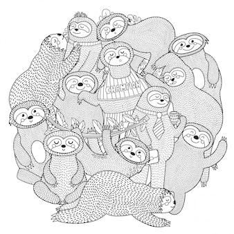 Смешные ленивцы шаблон формы круга для раскраски