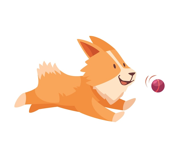 Funny small dog playing with ball cartoon