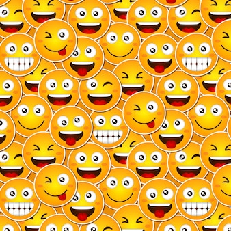 Funny smile emoticons pattern