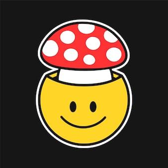 Смешное улыбающееся лицо с грибами мухомора внутри. вектор рисованной каракули 90-х годов стиль мультипликационный персонаж иллюстрации. trippy улыбающееся лицо, принт с грибами мухомора для футболки, плаката, открытки, патча, концепции логотипа