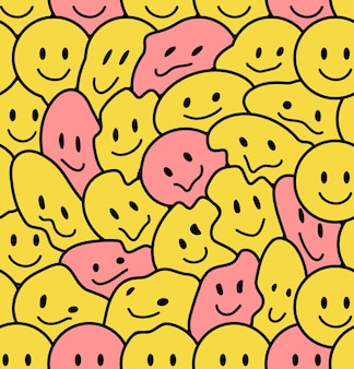 Funny smile faces seamless pattern