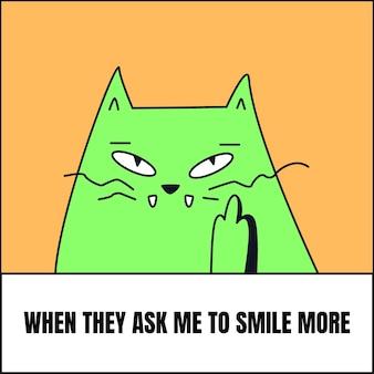 Смешная улыбка еще кошачий мем Бесплатные векторы