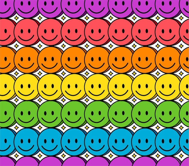 재미 있은 미소 무지개 얼굴 원활한 패턴